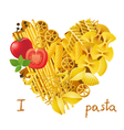 pasta heart vector image vector image