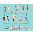 People Vacation Set Man and Woman vector image