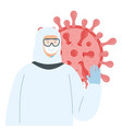 person with biohazard suit protection and particle vector image vector image