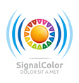 rainbow signal colour circle symbol icon vector image vector image