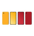 red and yellow smartphone mockup with blank vector image vector image