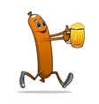 Running sausage with beer vector image vector image