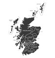 scotland map labelled black vector image vector image