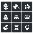 Set of Firewood in the forest Icons vector image vector image