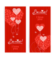Set of love background with abstract hearts vector image
