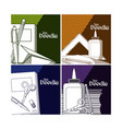 set of school doodle cards vector image vector image