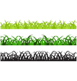 Set of Three Grass Border Pieces vector image