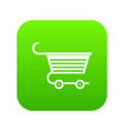 shopping trolley icon digital green vector image vector image