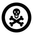 skull and bones icon black color in circle vector image