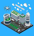 smart city technology isometric concept vector image vector image