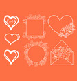 valentine day doodle elements hand drawn vector image vector image