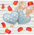 Valentines Day toys on wooden plates EPS 10 vector image vector image