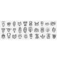 various african ancient masks doodle set vector image