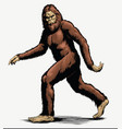 walking sasquatch full color vector image