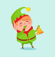 cartoon elf close mouth by hand in mittens vector image