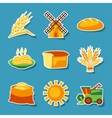 Cereal cultivation and farming sticker icon set vector image
