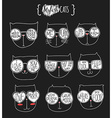 Set of cute doodle cats in glasses Sketch cat vector image