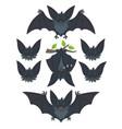 bat in various poses flying hanging grey bat vector image vector image