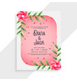 beautiful wedding card design with flower elements vector image