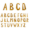 big letters of alphabet from orange folded paper vector image vector image