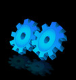 blue gear cog symbol vector image