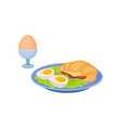 breakfast with boiled eggs fresh croissant vector image vector image