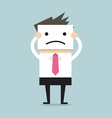 Businessman hide his real face by holding bad mood vector image vector image