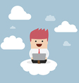 Businessman working on laptop on the cloud vector image vector image