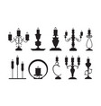 candlestick silhouettes black shapes vector image