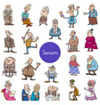 cartoon senior people characters big set vector image vector image