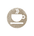 Cup of coffee icon with hand drawn lines texture vector image