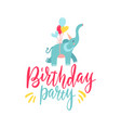 cute hand drawn elephant flying on balloons vector image