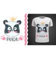cute panda - idea for print t-shirt vector image