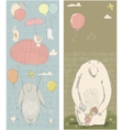 cute polar bear hares and girl vector image vector image