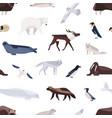 different cartoon cute polar animals seamless vector image
