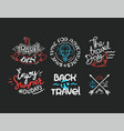 different lettering logos isolated on dark vector image vector image