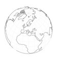 earth globe wireframe focused on europe vector image