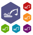 excavator icons set vector image vector image