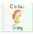 Flashcard letter C is for crying vector image vector image