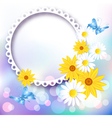 Flowers and photo frame vector image vector image