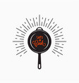 frying pan logo lets cook lettering on white vector image vector image