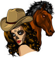 girl dressed as a cowboy with horse vector image vector image