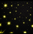 gold light stars on black transparent background vector image