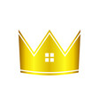 golden real estate house crown graphic icon design vector image