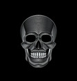 graphic print of stylized silver skull on black vector image vector image