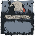 halloween greeting card with little witch vector image