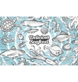 hand drawn seafood food Vintage vector image