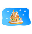 hand drawnin gingerbread house isolated on blue vector image vector image