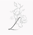 handwritten line drawing floral logo monogram l vector image vector image