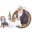 happy man eats funny little people vector image vector image